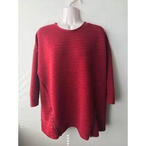 ✨ Macy's Red Ribbed Zipper Pull Over Sweater